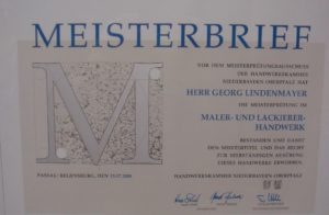 Meisterbrief Georg Lindenmayer Jun. 2008