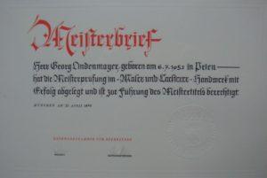 Meisterbrief Georg Lindenmayer Sen. 1976